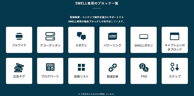 SWELL専用ブロックは「/」で呼び戻し可能